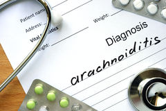 Diagnosis Arachnoiditis and tablets. Royalty Free Stock Image