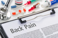 The diagnosis Back Pain stock image