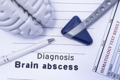 Diagnosis Brain Abscess. Figure brain, neurological hammer, printed on a paper blood test and written diagnosis of Brain Abscess i. N the medical form is lying royalty free stock photography