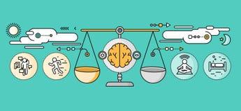 Diagnosis of Brain Psychology Flat Design Stock Image