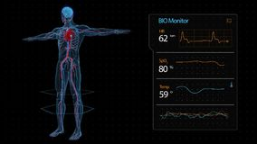 Diagnosis of the circulatory and nervous system. The monitor control parameters. stock footage