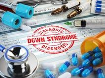 Diagnosis de la enfermedad de Síndrome de Down Sello, estetoscopio, jeringuilla, bl Imágenes de archivo libres de regalías