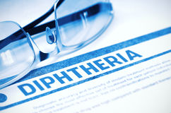 Diagnosis - Diphtheria. Medical Concept. 3D Illustration. Diagnosis - Diphtheria. Medicine Concept with Blurred Text and Glasses on Blue Background. Selective Royalty Free Stock Image