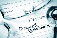 Diagnosis Dravet syndrome and tablets. Royalty Free Stock Images