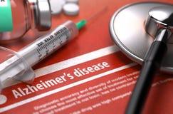 Diagnosis - enfermedad de Alzheimer Concepto MÉDICO fotos de archivo