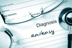Diagnosis Epilepsy and stethoscope. Diagnosis Epilepsy, pills and stethoscope royalty free stock photos