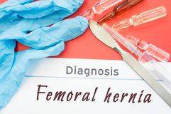 Diagnosis Femoral hernia. Blue gloves, surgical scalpel, syringe and ampoule with medicine lie next to inscription Femoral hernia. Causes, symptoms, diagnosis Stock Image