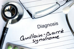 Diagnosis Guillain-Barre syndrome  and stethoscope. Royalty Free Stock Photos