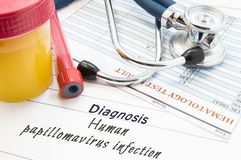 Diagnosis Human papillomavirus infection HPV. Stethoscope, lab test tube with blood, container with urine and result of blood la. Boratory analysis are near royalty free stock images