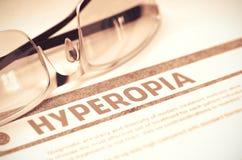 Diagnosis - Hyperopia. Medicine Concept. 3D Illustration. Royalty Free Stock Photos