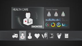 Diagnosis icon for Health Care contents. Technology medical care service.Digital display application. stock footage