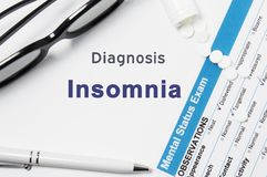 Diagnosis of Insomnia. Results of mental status exam, container with crumbled pills with inscription psychiatric diagnosis Insomni stock image