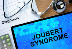 Diagnosis Joubert syndrome  and stethoscope. Stock Images