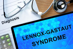 Diagnosis Lennox-Gastaut syndrome  and stethoscope. Stock Photos