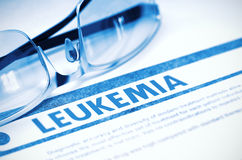 Diagnosis - Leukemia. Medicine Concept. 3D Illustration. Leukemia - Medical Concept with Blurred Text and Pair of Spectacles on Blue Background. Selective Focus stock photo