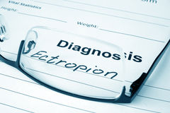 Diagnosis list with Ectropion and glasses. Stock Image