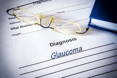 Diagnosis list with glaucoma Stock Photography