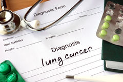 Diagnosis lung cancer and pills. Diagnostic form with Diagnosis lung cancer and pills stock images