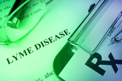 Diagnosis Lyme disease written on a page. Stock Image