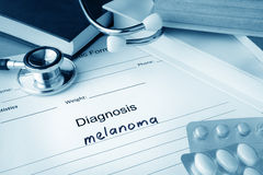 Diagnosis melanoma written in the diagnostic form. Royalty Free Stock Photography