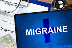 Diagnosis Migraine and tablets on a wooden table. Stock Images