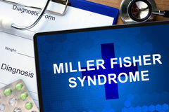 Diagnosis Miller Fisher syndrome  and stethoscope. Stock Photography