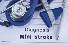 The diagnosis of mini stroke TIA. Paper medical history with diagnosis of mini stroke, on which lie stethoscope, neurological ha royalty free stock image