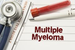 Diagnosis of Multiple Myeloma. Test tubes or bottles for blood, stethoscope and laboratory hematology analysis surrounded by text. Title of diagnosis of royalty free stock images