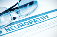 Diagnosis - Neuropathy. Medicine Concept. 3D Illustration. Diagnosis - Neuropathy. Medicine Concept on Blue Background with Blurred Text and Glasses. Selective Stock Images