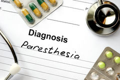Diagnosis Paresthesia  and stethoscope. Stock Images