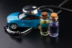 Diagnosis of a passenger car. Repair and troubleshooting in car workshops royalty free stock photo