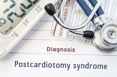 Diagnosis Postcardiotomy syndrome. Stethoscope, hematology blood test result and digital tonometer lie on sheet of paper with prin. Ted title diagnosis of Stock Photography