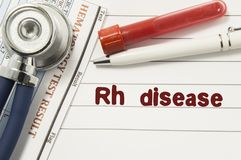 Diagnosis of Rh Disease. Test tubes or bottles for blood, stethoscope and laboratory hematology analysis surrounded by text title. Of diagnosis of Rh Disease royalty free stock image