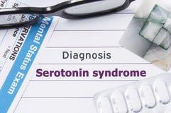 Diagnosis Serotonin Syndrome. Medical notebook labeled Diagnosis Serotonin Syndrome, psychiatric mental questionnaire, pills are o royalty free stock photos