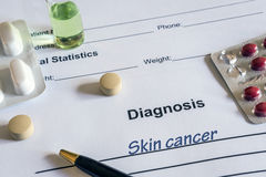 Diagnosis skin cancer written in the diagnostic form royalty free stock photo