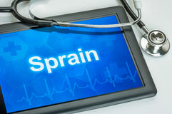The diagnosis Sprain on the display Royalty Free Stock Images