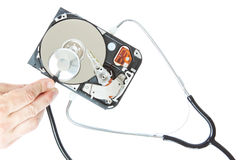 Diagnosis of a stethoscope hard drive. Royalty Free Stock Photo