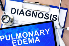 diagnosis and tablet with Pulmonary edema Royalty Free Stock Photography