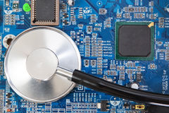 Diagnosis test of motherboard panel. Stock Image
