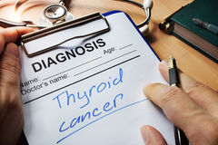 Diagnosis thyroid cancer. Stock Image