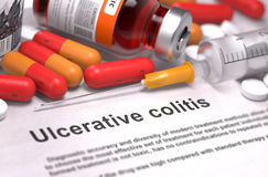 Diagnosis - Ulcerative Colitis. Medical Concept. Diagnosis - Ulcerative Colitis. Medical Report with Composition of Medicaments - Red Pills, Injections and stock illustration