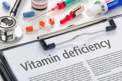 Vitamin deficiency written on a clipboard Stock Photos