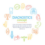 Diagnostic Concept with Human Organs Set. Vector Royalty Free Stock Photo