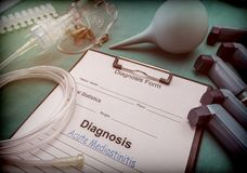 Diagnostic form, acute mediastinitis, Oxygen mask and inhalers in a hospital stock photos