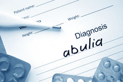Diagnostic form with diagnosis abulia. Stock Photography