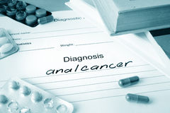 Diagnostic form with diagnosis anal cancer. Diagnostic form with diagnosis anal cancer and pills Stock Images