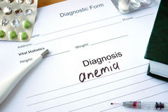 Diagnostic form with Diagnosis anemia . Stock Photo