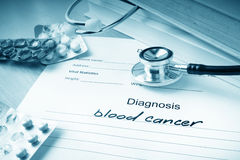 Diagnostic form with diagnosis blood cancer Stock Photo