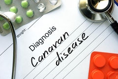 Diagnostic form with diagnosis Canavan disease. Stock Photo