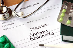 Diagnostic form with diagnosis  Chronic bronchitis. Stock Images